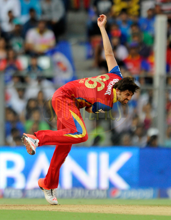 David Wiese of Royal Challengers Bangalore bowls during match 46 of the Pepsi IPL 2015 (Indian Premier League) between The Mumbai Indians and The Royal Challengers Bangalore held at the Wankhede Stadium in Mumbai, India on the 10th May 2015.<br /> <br /> Photo by:  Pal Pillai / SPORTZPICS / IPL