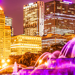 Chicago panorama with Buckingham Fountain and Chicago skyline at night. Panoramic picture ratio is 1:3.   Officially named the Clarence F. Buckingham Memorial Fountain, the fountain is a very popular attraction located in Grant Park in downtown Chicago.