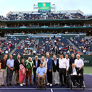 March 13, 2014, Indian Wells, California: <br /> Charlie Pasarell is presented with a ring signifying his induction into the International Tennis Hall Of Fame during an on-court presentation ceremony.<br /> (Photo by Billie Weiss/BNP Paribas Open)
