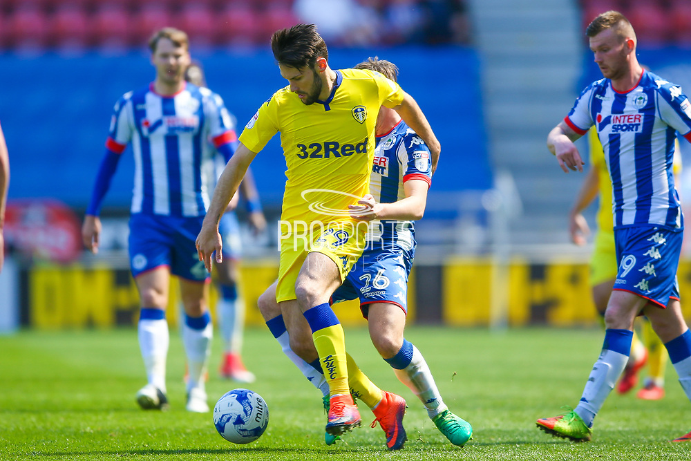 Leeds United midfielder, on loan from Villarreal, Alfonso Pedraza (29) in action  during the EFL Sky Bet Championship match between Wigan Athletic and Leeds United at the DW Stadium, Wigan, England on 7 May 2017. Photo by Simon Davies.