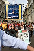 Veteran of Acqui Division Italian Army holds labarum with medals at demonstration of Liberation day in Milan, April 25, 2011. © Carlo Cerchioli..Reduce della Divisione Acqui dell'Esercito Italiano porta il labaro con le medaglie alla manifestazione per la Liberazione, Milano 25 aprile 2011.