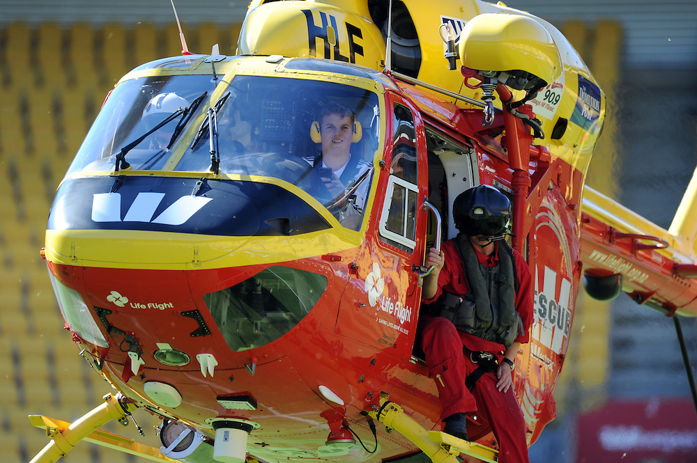 Westpac Rescue Helicopter at Westpac Stadium, Wellington, Sunday, February 24, 2013. .Credit:SNPA / Ross Setford