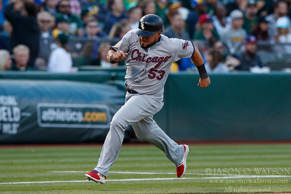 OAKLAND, CA - JULY 03:  Melky Cabrera #53 of the Chicago White Sox rounds third base to score a run against the Oakland Athletics during the third inning at the Oakland Coliseum on July 3, 2017 in Oakland, California. The Chicago White Sox defeated the Oakland Athletics 7-2. (Photo by Jason O. Watson/Getty Images) *** Local Caption *** Melky Cabrera