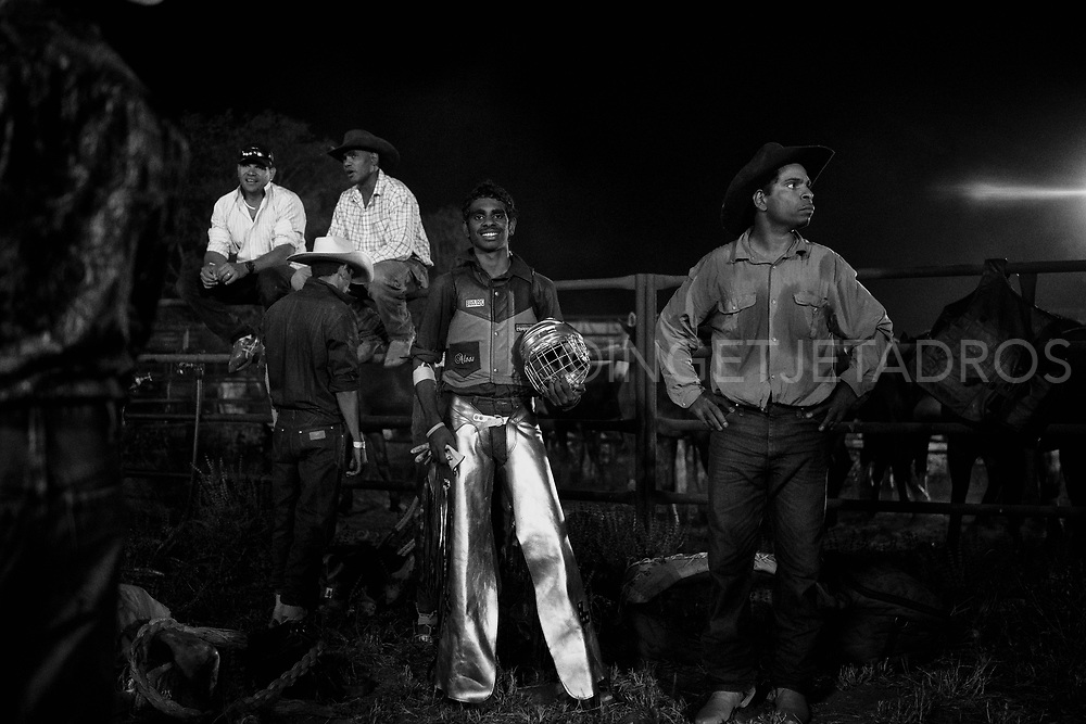 Kazendean Rivers (15 yrs) from Fitzroy Crossing proudly posing at the Rodeo in Broome, Western Australia.