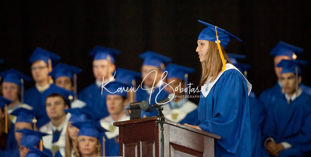 Valedictorian Caitlyn Cennamo speaks during Gilford High School's commencement exercises at Meadowbrook Pavilion on Saturday,  June 11, 2011.  (Karen Bobotas/for the Laconia Daily Sun)Gilford High School Graduation at Meadowbrook Pavilion Saturday, June 11, 2011.Gilford High School graduation June 11, 2011.