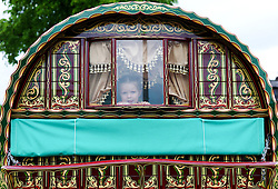 © Licensed to London News Pictures. <br /> 05/06/2014. <br /> <br /> Appleby, Cumbria, England<br /> <br /> A young girl looks out of the back window of a bow top wagon as gypsies and travellers gather during the annual horse fair on 5 June, 2014 in Appleby, Cumbria. The event remains one of the largest and oldest events in Europe and gives the opportunity for travelling communities to meet friends, celebrate their music, folklore and to buy and sell horses.<br /> <br /> The event has existed under the protection of a charter granted by King James II in 1685 and it remains the most important event in the gypsy and traveller calendar.<br /> <br /> Photo credit : Ian Forsyth/LNP