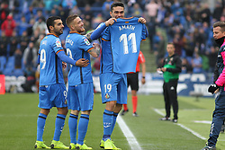 December 15, 2018 - Getafe, Madrid, Spain - Molina and players of Getafe celebrating a goal during La Liga Spanish championship, , football match between Getafe and Real Sociedad, December 15, in Coliseum Alfonso Perez in Getafe, Madrid, Spain. (Credit Image: © AFP7 via ZUMA Wire)