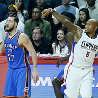 16 January 2017: LA Clippers center Marreese Speights (5) and Oklahoma City Thunder center Joffrey Lauvergne (77) are seen during the LA Clippers 120-98 victory over the Orlando Magic, at the Staples Center, Los Angeles, California, USA.