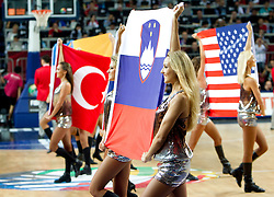 Turkish, Slovenian and US  flags during the final basketball match between National teams of Turkey and USA at 2010 FIBA World Championships on September 12, 2010 at the Sinan Erdem Dome in Istanbul, Turkey.  USA defeated Turkey 81 - 64 and became World Champion 2010. (Photo By Vid Ponikvar / Sportida.com)