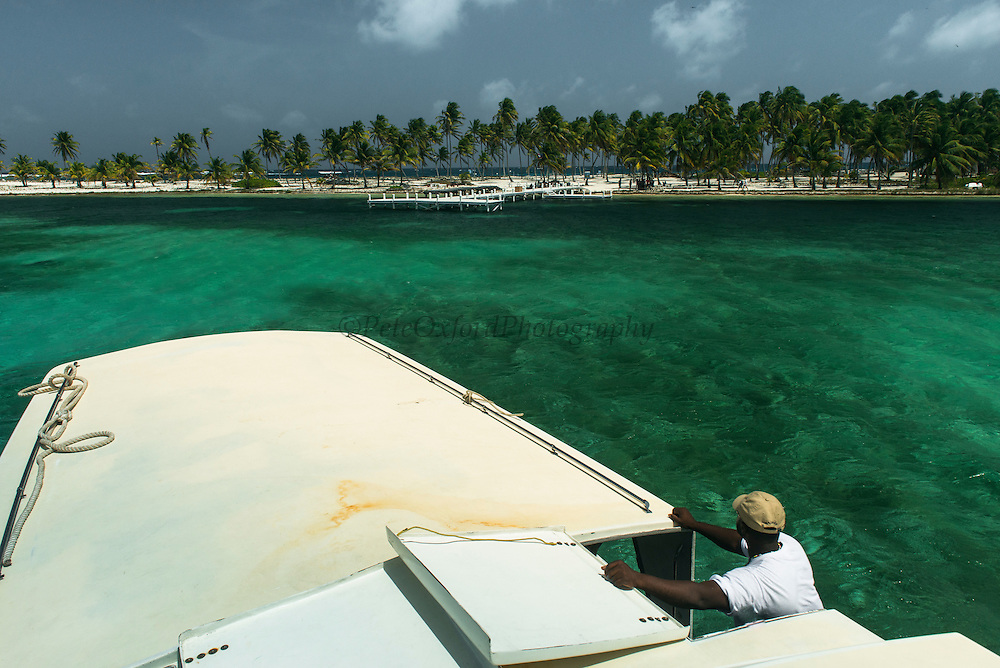 Tourist boat<br /> Halfmoon Caye<br /> Lighthouse Reef Atoll<br /> Belize<br /> Central America