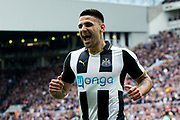 Newcastle United forward Aleksandar Mitrovic (#45) celebrates Newcastle United's first goal scored by Newcastle United forward Ayoze Perez (#17) during the EFL Sky Bet Championship match between Newcastle United and Barnsley at St. James's Park, Newcastle, England on 7 May 2017. Photo by Craig Doyle.