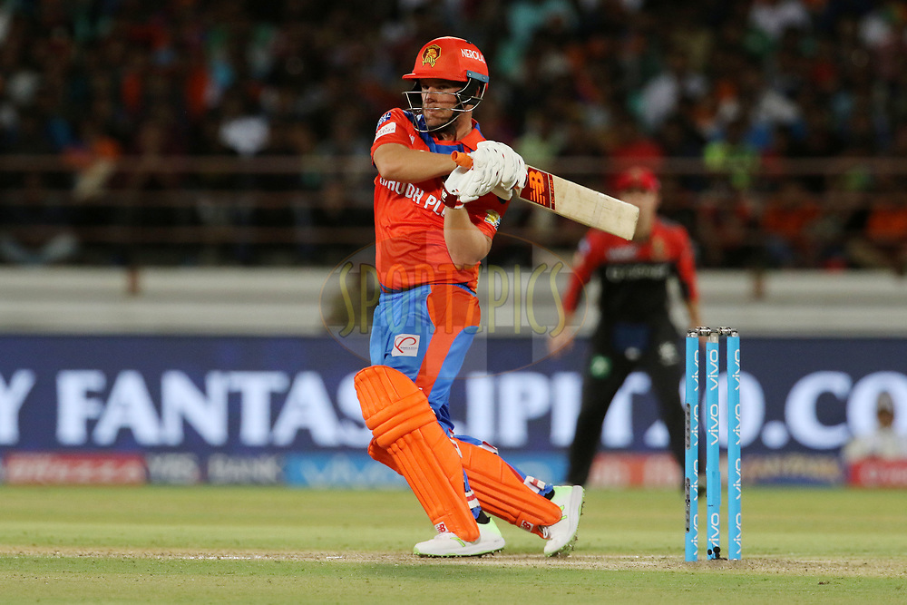 Aaron Finch of the Gujarat Lions plays a shot during match 20 of the Vivo 2017 Indian Premier League between the Gujarat Lions and the Royal Challengers Bangalore  held at the Saurashtra Cricket Association Stadium in Rajkot, India on the 18th April 2017<br /> <br /> Photo by Vipin Pawar - Sportzpics - IPL