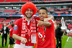 Derrick Williams and Korey Smith celebrate after Bristol City win the match 2-0 - Photo mandatory by-line: Rogan Thomson/JMP - 07966 386802 - 22/03/2015 - SPORT - FOOTBALL - London, England - Wembley Stadium - Bristol City v Walsall - Johnstone's Paint Trophy Final.