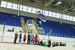 © Licensed to London News Pictures . 02/11/2012 . Manchester , UK . The leader of the Labour Party , ED MILIBAND (standing fourth from left in suit) , at the BMX track at the National Cycling Centre in Manchester , today (Friday 2nd November 2012) . Mr Miliband joins Lucy Powell who is standing for the constituency of Manchester Central in the city's upcoming by-election . Photo credit : Joel Goodman/LNP