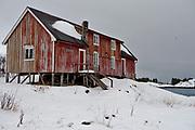 The old fishing hut called Simonbua at Henningsvaer, Lofoten Norway.