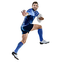 one caucasian rugby player man studio isolated on white background