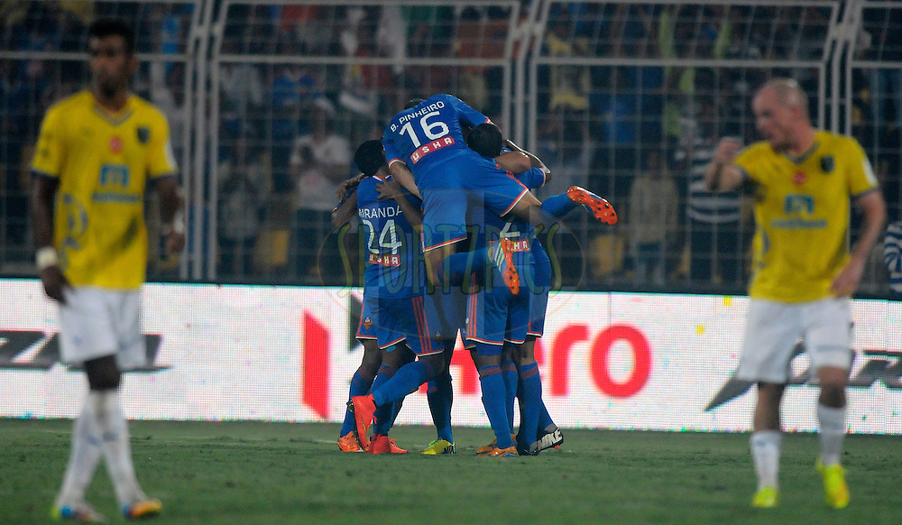 Miroslav Slepicka of FC Goa celebrates a goal during match 41 of the Hero Indian Super League between FC Goa and Kerala Blasters FC held at the Jawaharlal Nehru Stadium, Fatorda, India on the 26th November 2014.<br /> <br /> Photo by:  Pal Pillai/ ISL/ SPORTZPICS