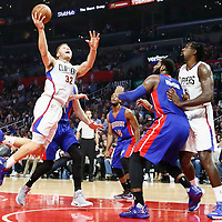 07 November 2016: Los Angeles Clippers forward Blake Griffin (32) goes for the acrobatic layup during the LA Clippers 114-82 victory over the Detroit Pistons, at the Staples Center, Los Angeles, California, USA.