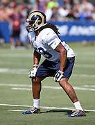 Los Angeles Rams rookie linebacker Josh Forrest (59) makes a move during the Los Angeles Rams 2016 NFL training camp football practice held on Tuesday, Aug. 2, 2016 in Irvine, Calif. (©Paul Anthony Spinelli)