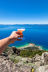 """Cheers to Lake Tahoe"" - Photograph of a champaign toast high above Sand Harbor and beautiful Lake Tahoe."