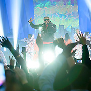 January 30, 2013 - New York, NY : The rapper Doug E. Fresh, center, performs with the band TLC (not clearly visible) as part of VH1 Super Bowl Blitz at the Beacon Theatre in Manhattan on Thursday night. CREDIT: Karsten Moran for The New York Times