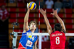 06.09.2014, Jahrhunderthalle, Breslau, POL, Venezuela vs Serbien, Gruppe A, im Bild Serbia, Aleksandar Atanasijevic (SRB), Hector Salerno (VEN) // during the FIVB Volleyball Men's World Championships Pool A Match beween Uenezuela and Serbia at the Jahrhunderthalle in Breslau, Poland on 2014/09/06. EXPA Pictures © 2014, PhotoCredit: EXPA/ Newspix/ Lukasz Skwiot<br /> <br /> *****ATTENTION - for AUT, SLO, CRO, SRB, BIH, MAZ, TUR, SUI, SWE only*****