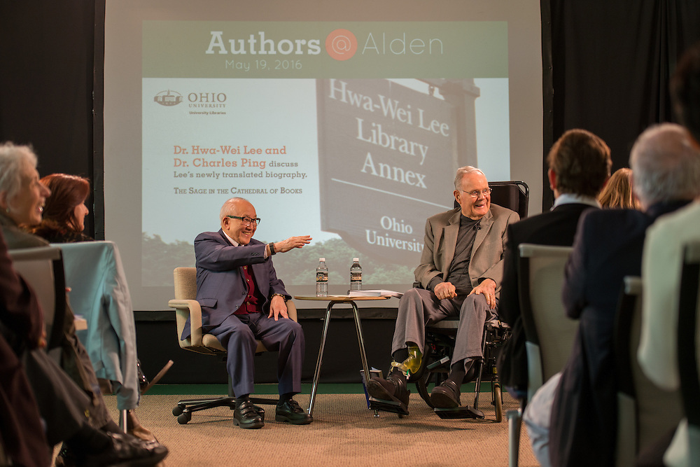 Authors@Alden with Dr. Hwa-Wei Lee and interviewer Dr. Charles Ping. Photo by Ben Siegel