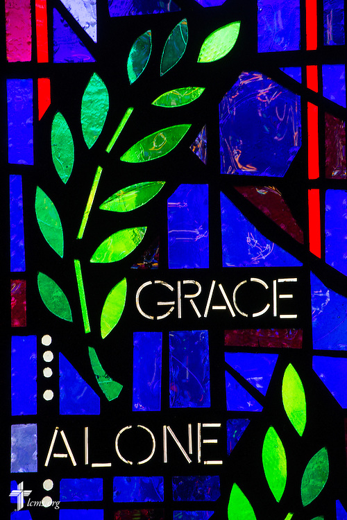 """Stained glass with the words """"Grace Alone"""" on Sunday, Nov. 22, 2015, at Salem Lutheran Church in Springdale, Ark. LCMS Communications/Erik M. Lunsford"""
