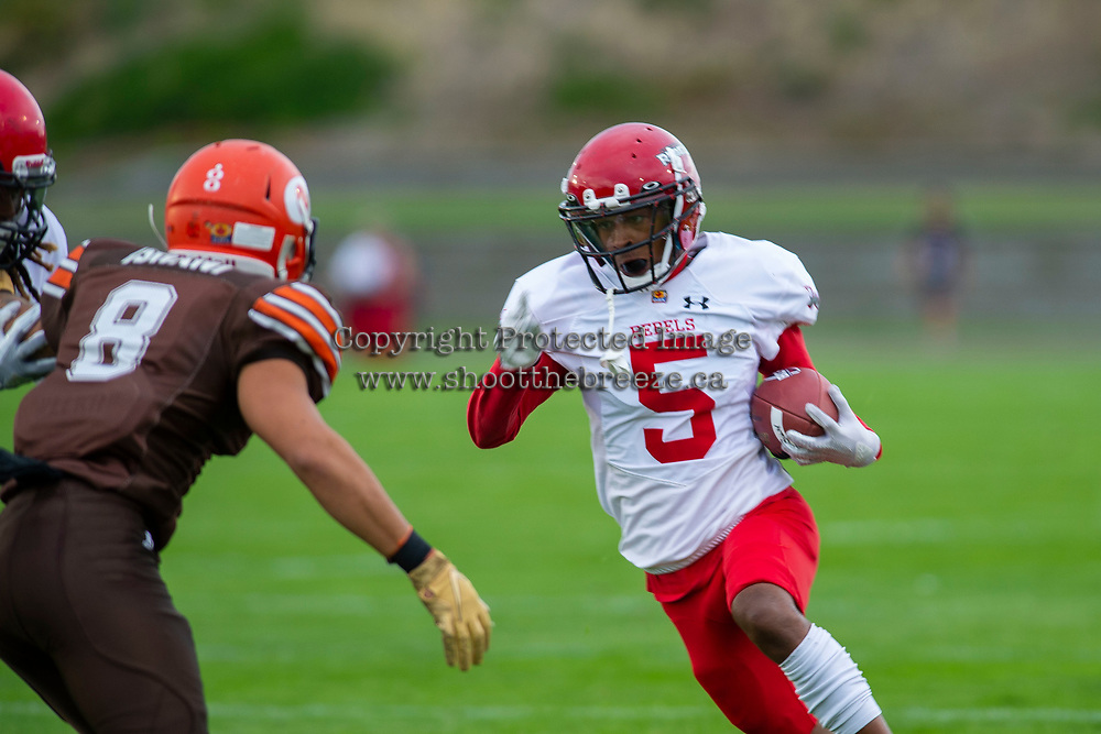 KELOWNA, BC - AUGUST 17:  Maleek Womack #5 of Westshore Rebels runs with the ball after interception against the Okanagan Sun  at the Apple Bowl on August 17, 2019 in Kelowna, Canada. (Photo by Marissa Baecker/Shoot the Breeze)