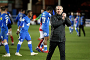 Charlton manager Lee Bowyer claps the fans after the EFL Sky Bet League 1 match between Peterborough United and Charlton Athletic at London Road, Peterborough, England on 26 January 2019.