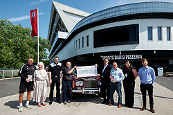 Representatives from the Bristol Sport Shop, Brian Tinnion, Marina Dolman and Dan White from the Bristol City Community Trust with a cheque for £8,000 from proceeds from the Harry Dolman Autobiography - Ryan Hiscott/JMP - 28/06/2019 - SPORT - Ashton Gate Stadium - Bristol, England - Harry Dolman Book Proceeds Cheque Presentation to the Bristol City Community Trust