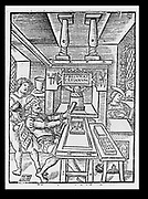 Printing workshop of Bodocus Badius Ascensius from the title page of a book published in 1530. Note the female compositor. Woodcut.