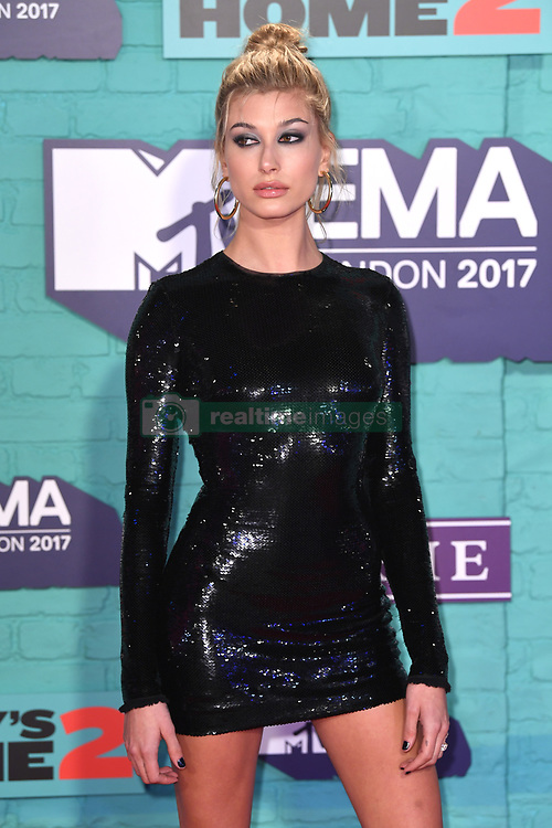 Hailey Baldwin arriving at the MTV Europe Music Awards 2017 held at The SSE Arena, London. Photo credit should read: Doug Peters/EMPICS Entertainment