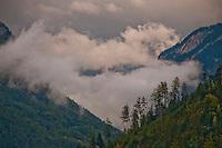 Summer mountain mists in Interlaken, Berner Oberland, Switzerland.
