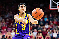 FAYETTEVILLE, AR - JANUARY 12:  Tremont Waters #3 of the LSU Tigers makes a pass during a game against the Arkansas Razorbacks at Bud Walton Arena on January 12, 2019 in Fayetteville, Arkansas.  The Tigers defeated the Razorbacks 94-88.  (Photo by Wesley Hitt/Getty Images) *** Local Caption *** Tremont Waters
