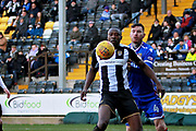Notts County's Shola Ameobi(9) and Stevenage midfielder Jack King (4) during the EFL Sky Bet League 2 match between Notts County and Stevenage at Meadow Lane, Nottingham, England on 24 February 2018. Picture by Nigel Cole.