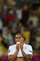 The Disappointment from Glen Johnson after England lose the  Italy V England Quarter-finals in the Euro 2012, Sunday June 24, 2012, in Kiev, Ukraine. Photo By Imago/i-Images
