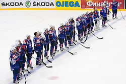 Team of Slovenia after the ice-hockey match between Slovakia and Slovenia of Group A of IIHF 2011 World Championship Slovakia, on April 29, 2011 in Orange Arena, Bratislava, Slovakia. Slovakia defeated Slovenia 3-1. (Photo By Vid Ponikvar / Sportida.com)