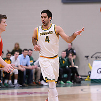 4th year guard Alex Igual (4) of the Regina Cougars in action during the home game on January  27 at Centre for Kinesiology, Health and Sport. Credit: Arthur Ward/Arthur Images