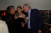 David Tang, Sir Terence and Lady Victoria Conran, Opening of Floridita, Wardour St. London. 21 October 2004. ONE TIME USE ONLY - DO NOT ARCHIVE  © Copyright Photograph by Dafydd Jones 66 Stockwell Park Rd. London SW9 0DA Tel 020 7733 0108 www.dafjones.com
