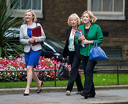 © Licensed to London News Pictures. 08/09/2015. London, UK. L to R Secretary of State for Environment, Food and Rural Affairs LIZ TRUSS, Minister for Small Business, Industry and Enterprise ANNA SOUBRY and Secretary of State for Energy and Climate Change AMBER RUDD  Arriving at 10 Downing Street in London for cabinet meeting. Photo credit: Ben Cawthra/LNP