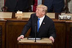 January 30, 2018 - Washington, District Of Columbia, U.S. - United States President DONALD J. TRUMP delivers the State Of The Union Address to a joint session of Congress at the United States Capitol. (Credit Image: © Alex Edelman via ZUMA Wire)