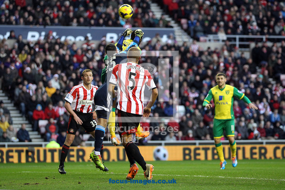 Picture by Paul Chesterton/Focus Images Ltd +44 7904 640267<br /> 21/12/2013<br /> Sunderland's Vito Mannone punches clear ahead of Sebastien Bassong of Norwich during the Barclays Premier League match at the Stadium Of Light, Sunderland.