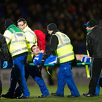 St Johnstone v Hibs..28.11.12      SPL<br /> David Robertson is stretchered off after breaking his leg<br /> Picture by Graeme Hart.<br /> Copyright Perthshire Picture Agency<br /> Tel: 01738 623350  Mobile: 07990 594431