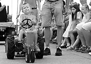 Noah Rozanski, 4, gave a valiant effort as he competed in the pedal pull at the Lake County Fair in Crown Point, Ind., on August 11, 2015.