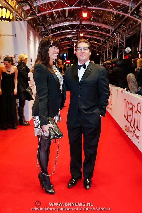 NLD/Amsterdam/20130211- Filmpremiere Ushi Must Marry, Martijn Krabbe en partner Amanda Beekman