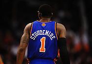 Jan. 7 2011; Phoenix, AZ, USA; New York Knicks forward Amar'e Stoudemire (1) on the court during the first half against the Phoenix Suns at the US Airways Center. Mandatory Credit: Jennifer Stewart-US PRESSWIRE.