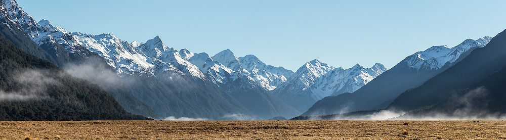 Snow-covered Earnslaw Mountains, Fiordland National Park, New Zealand