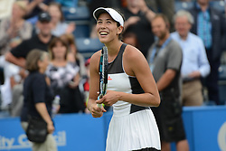 June 22, 2017 - Birmingham, England - GARBINE MUGURUZA of Spain hits some tennis balls into the crowd after winning her second round match v. A. Riske in the Aegon Classic Birmingham tennis tournament. (Credit Image: © Christopher Levy via ZUMA Wire)