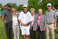 May 29, 2019 - Dublin, OH, U.S. - DUBLIN, OH - MAY 29: Tiger Woods (far left), Jack Nicklaus (second from right) and former NFL quarterback Peyton Manning (far right) pose for a photo with a Nationwide Patient Champion during the Pro-Am of the Memorial Tournament presented by Nationwide at Muirfield Village Golf Club on May 30, 2018 in Dublin, Ohio. (Photo by Adam Lacy/Icon Sportswire) (Credit Image: © Adam Lacy/Icon SMI via ZUMA Press)